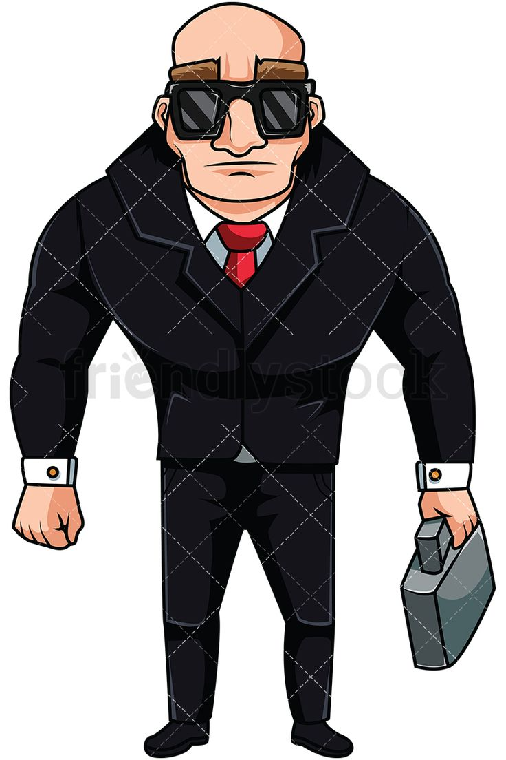 Boss Guy Holding Briefcase: Royalty-free stock vector illustration of a bulky muscular man with intense eyebrows, wearing a suit, a tie, and shades, holding a briefcase, looking serious. #friendlystock #clipart #cartoon #vector #stockimage #art #boss #supervisor #manager #man #male #tough