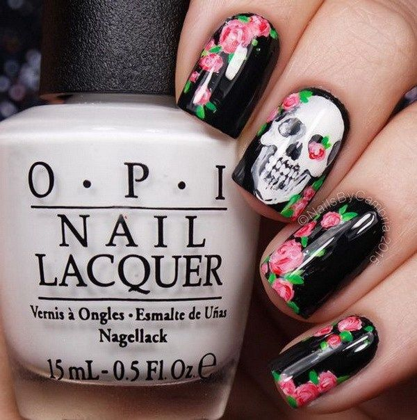 Halloween Nail Art Designs with Rose and Skull. Halloween Nail Art Ideas.