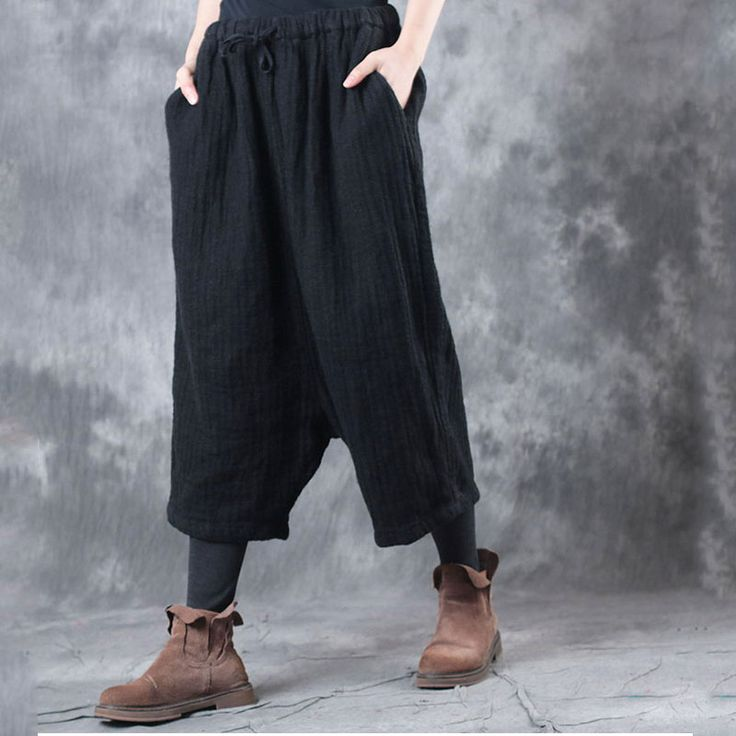 Casual Style Comfortable Linen Cropped Pants Wide Leg Black Trousers  #linen #flax #wideleg #pants #black #trousers #woman #croppedpants #casual