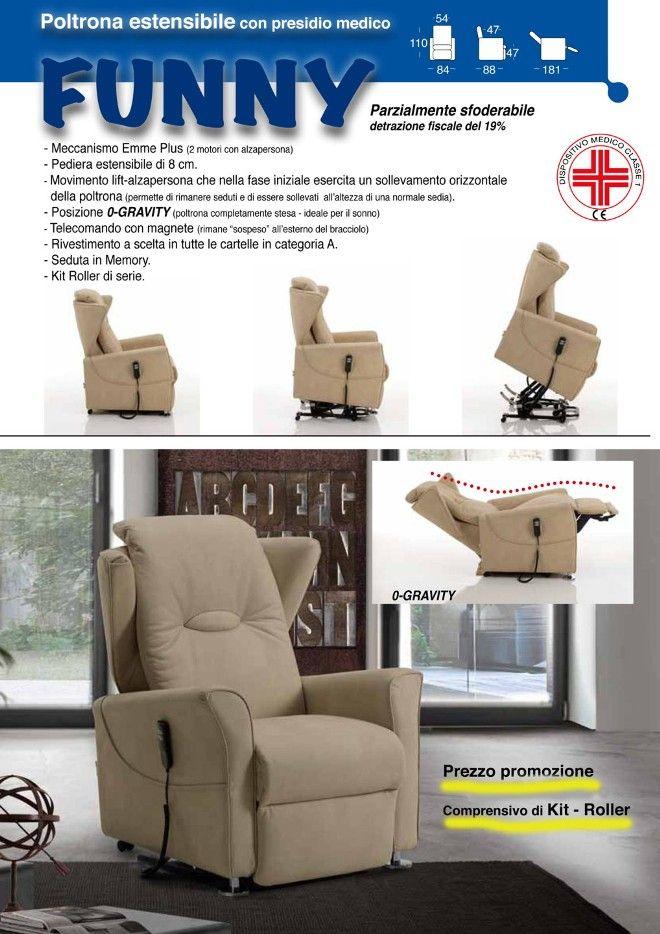 Poltrona relax PRESIDIO MEDICO FUNNY particolarmente adatta per persone alte