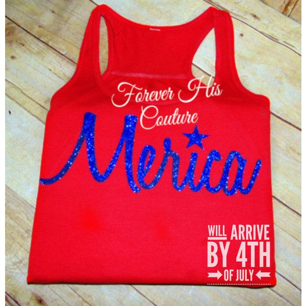 Merica Tank Top Merica Shirt Fourth of July America Shirt Merica... ($19) ❤ liked on Polyvore featuring tops, red, tanks, women's clothing, racerback top, red racerback tank, racerback shirt, glitter top and red tank top