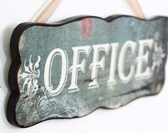 """Shabby Chic INSEGNA IN LEGNO """"OFFICE"""" Shab"""