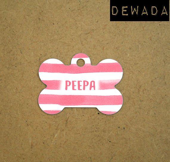 pink Pet Tag personalized  -  Pet id Tag stripes