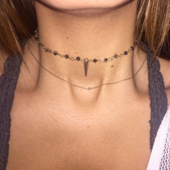 Beaded Choker Cute hand made beaded crystal choker! Beads are grey, with gold horn and gold accents. Super cute, one of a kind hand-made choker! Inspired by free people choker :) Free People Jewelry Necklaces