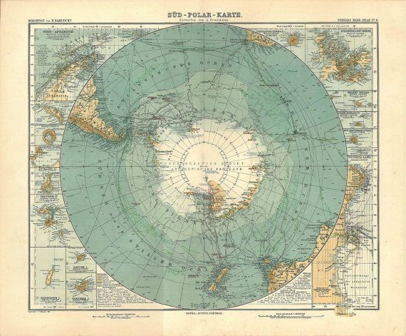 1912 Gorgeous map of Antarctica!   It is from the famous Stieler Atlas published by Justus Perthes (Gotha, Germany)