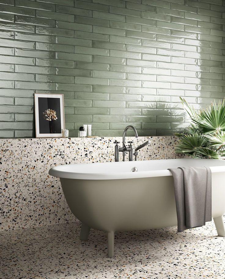 DYKE & DEAN | GREEN & TERRAZZO BATHROOM Bad Inspiration, Bathroom Inspiration, Interior Inspiration, Beige Bathroom, Small Bathroom, Textured Tiles Bathroom, Laundry Bathroom Combo, Bathroom Green, Bathroom Bath