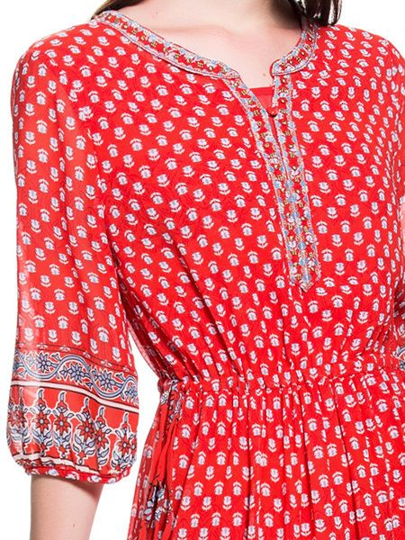 Casual 3/4 Sleeve Printed V Neck Geometric Midi Dress
