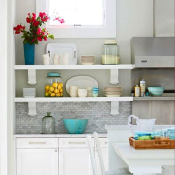 This is pretty much my vision for colours in my new kitchen... we will also have white cabinets and a similar backsplash... LOVE the colour mixed in with the neutrals.