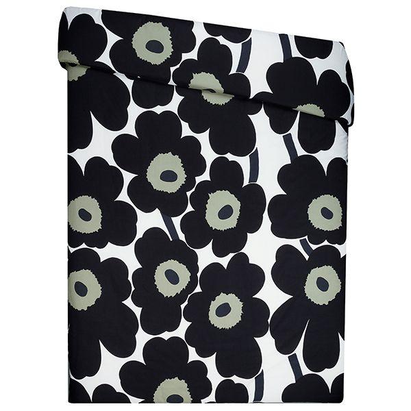Unikko double duvet cover, black - white