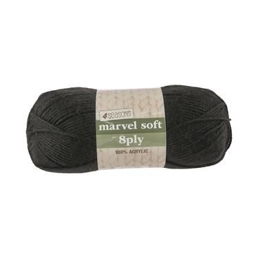 4 Seasons Marvel Soft 8 Ply Yarn Black 100 g