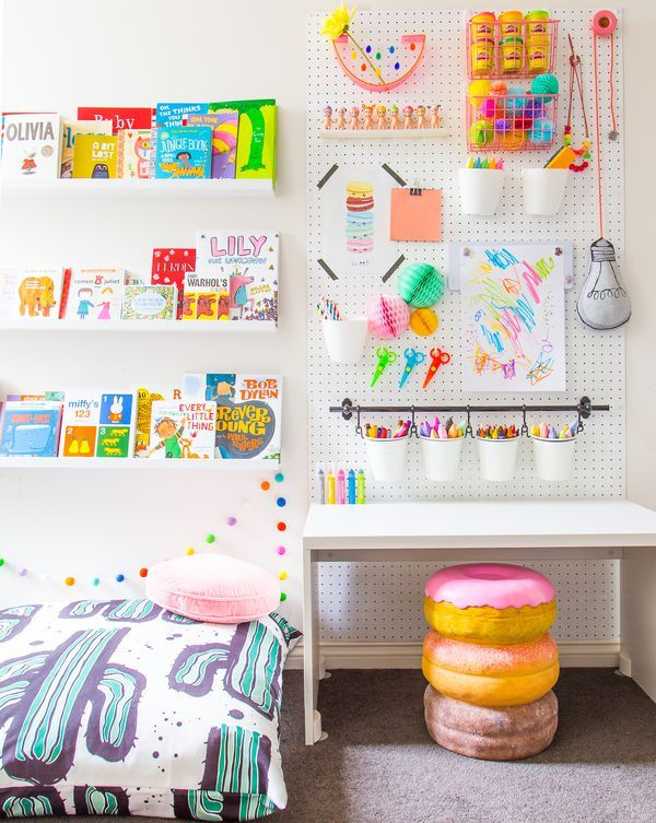 Kid's homework station with pegboard storage