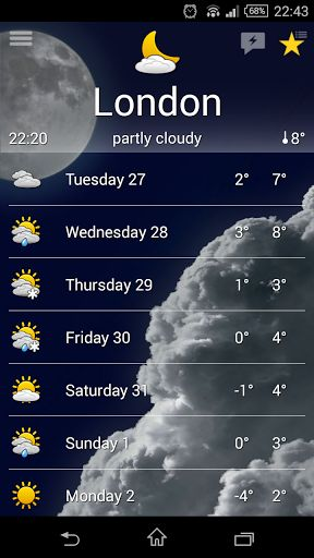 the Weather v2.11.1 b34 [Patched]   the Weather v2.11.1 b34 [Patched]Requirements:4.0.3Overview:Weather forecast for all the world satellite wind & sea surf webcams real time weather widgets geolocation.  WEATHER for Android. Without ADS. Weather forecast for all the world satellite wind & sea surf webcams real time weather widgets geolocation.  NOTES: - widgets aren't available if you install or move this app to SD card; - on multiuser devices it works only with the default user; - to…