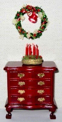 Christmas wreath and christmas candlestick