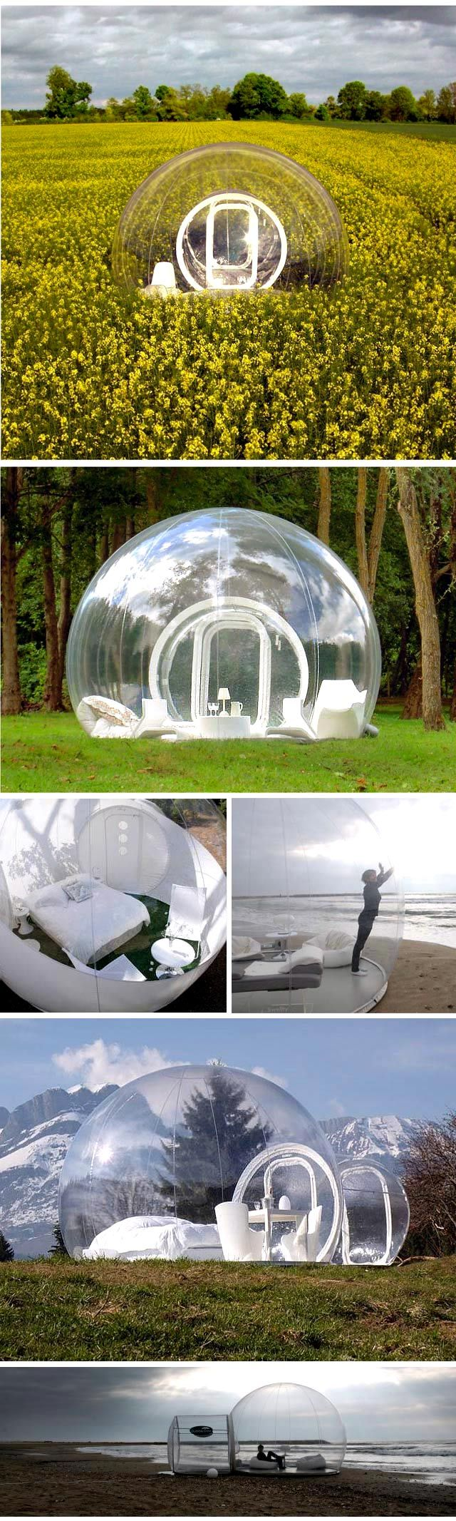 We love this Inflatable Bubble Tent! The luxury way to camp! - perfect for camping at festivals too - sometimes called an iGlu pod or a lunapod...x