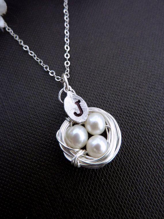 1 Custom Initial and 3 Pearls Eggs Bird Nest by JCGemsJewelry