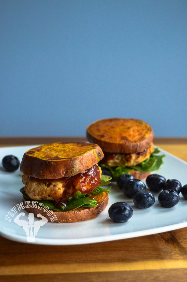 Pack on #muscle by downing these BBQ Turkey burgers in a sweet potato sandwich post workout. #fitness #nutrition