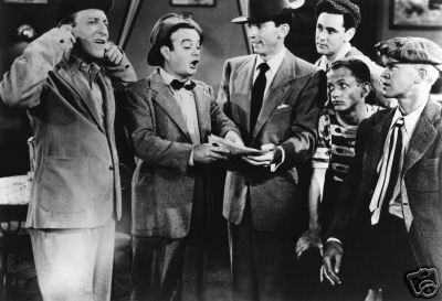 LEO GORCEY & HUNTZ HALL, THE BOWERY BOYS On Sunday afternoons I loved to watch episodes of the Bowery Boys. It was also called Eastside Comedy. They ere old black and white movies but I enjoyed them.