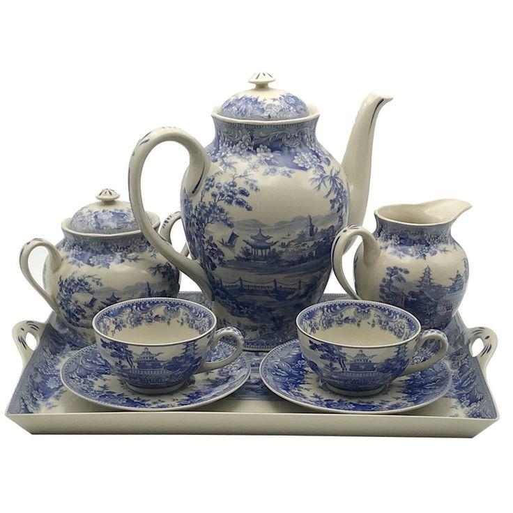 16″ Pagoda Blue/White Transferware Porcelain Tea Set with Tray – Antique Reproduction