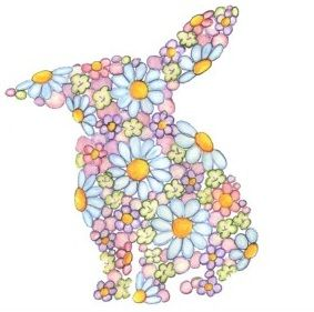 Bunny Rabbit of Flowers - Floral animal Silhouette art