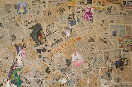 Newspaper collage. Imagine these all as obits.