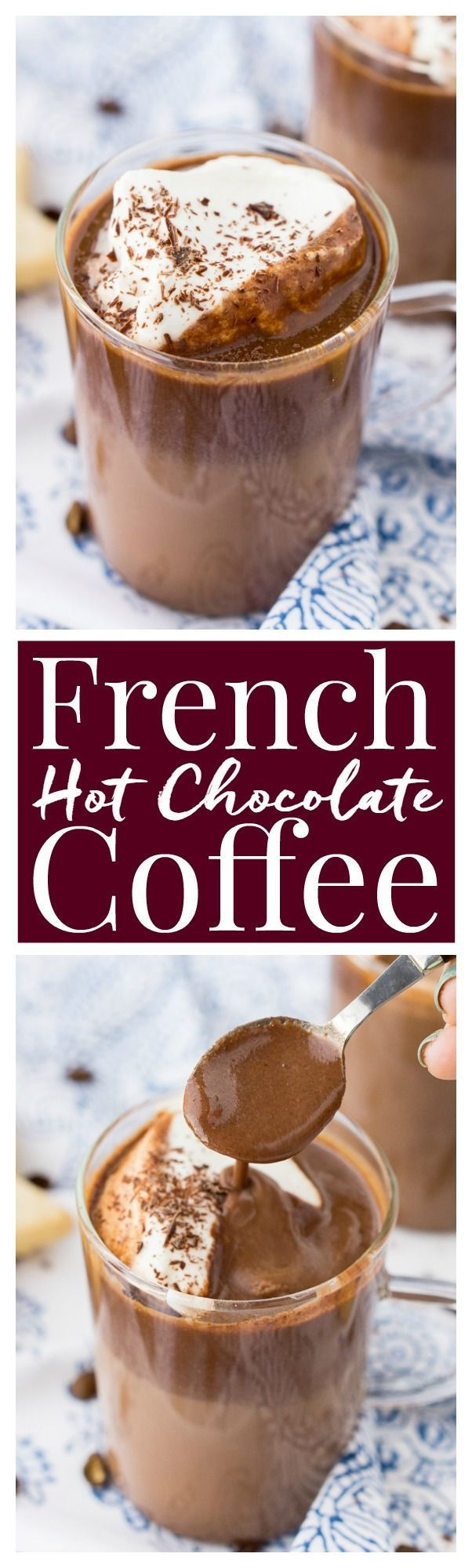 This French Hot Chocolate Coffee is an indulgent blend of thick and creamy Parisian hot chocolate and bold hot dark roast coffee. The perfect brunch or dessert beverage for the holidays! #ad #DunkinHoliday