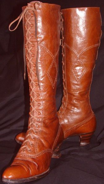 C.1895-1900. Long lace up boots made out of a dark golden brown supple leather which would have been worn for bicycling