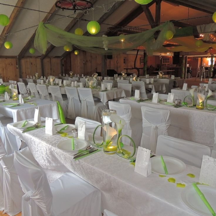 Green Wedding Venue Decor. Very vibrant.