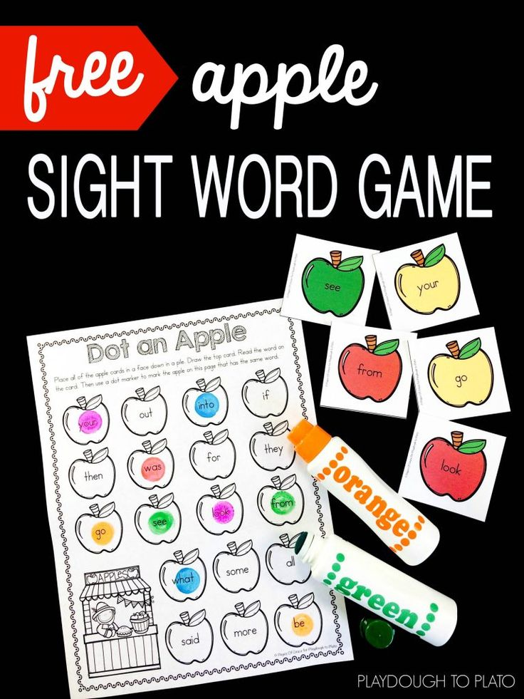Apple Sight Word Game! A fun hands-on way for kids to work on sight word recognition. Dot the Apple is a great literary activity for fall with kindergarten and first grade when we go back to school.