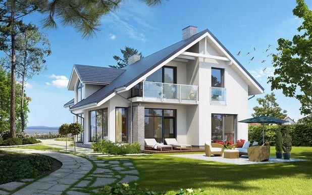 Kompaktowa bryła budynku mieści przestronne wnętrze podzielone na parterową część dzienną i sypialne poddasze.