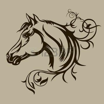 horse+silhouette%3A+%C4%8Cern%C3%BD+k%C5%AF%C5%88+silueta+Ilustrace