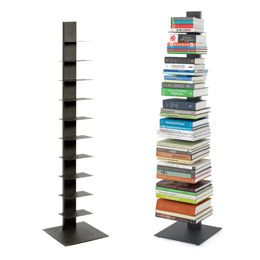 Using vertical space to store books... sounds like a good option to a large bookcase.