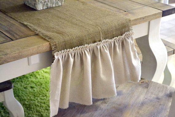 burlap tablecloth with muslin ruffle.
