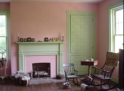 pink milk paint in a historic 1835 house.