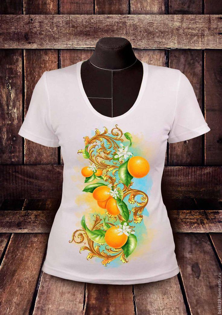 Купить Футболка женская Золотые апельсины - футболка, футболка с рисунком, футболка на заказ, футболка с принтом