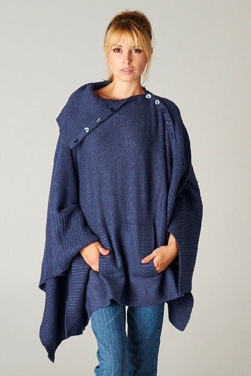 I so love these flowy, drapey sweaters and tops! They're not practical when you're doing things, but they look fabulous. Jenna Poncho Sweater in Blue on Emma Stine Limited