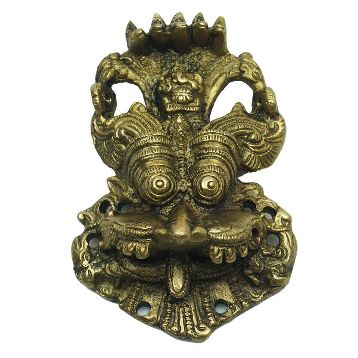 Beautiful Antique Gold Brass Door Protector Yali Face Wall Hanging at US $14.50   #brassstatue