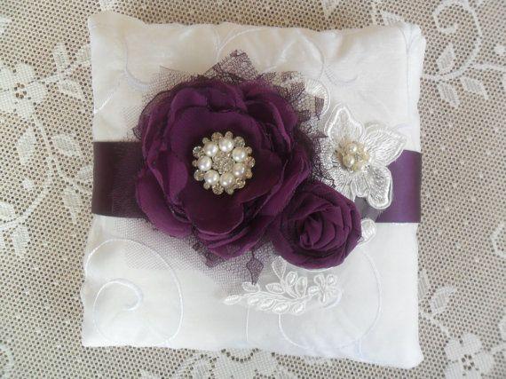 Bridal Pillow Ring Bearer Pillow Plum Purple Ring by DarlasBlooms