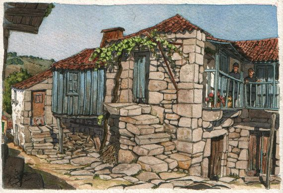 House of two sisters - Original art, small 7x5 landscape watercolor painting