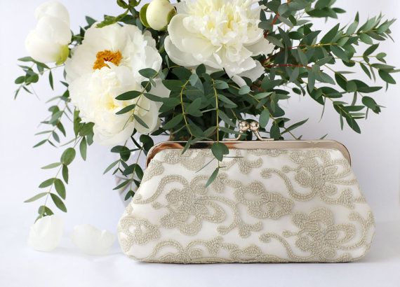 Metallic Antique Gold Floral Lace Clutch for Bride by ANGEEW