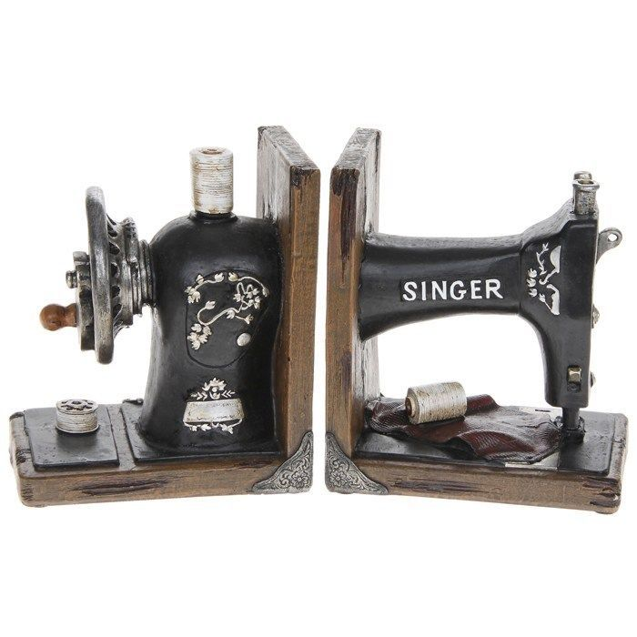QUALITY VINTAGE RETRO SINGER SEWING MACHINE BOOKENDS BOOK ENDS NEW & BOXED | eBay