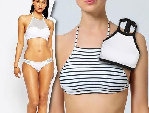 Trapezowy crop top bikini - trend na lato, moda plażowa