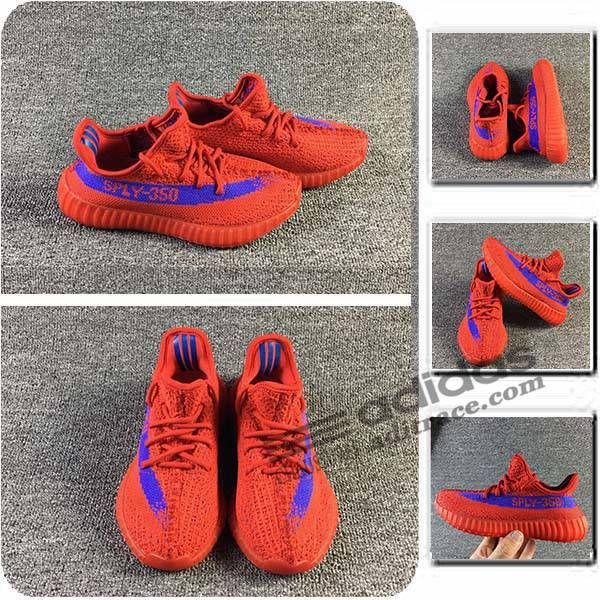Adidas Yeezy Boost 350 V2 Nouvelle Chaussure Enfant Rouge/Bleu :aditrace