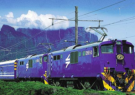 """The train Kumalo took to Johannesburg.  """"The train passes through a world of fancy, and you can look through the misty pines at green shadowy banks of grass and bracken."""""""