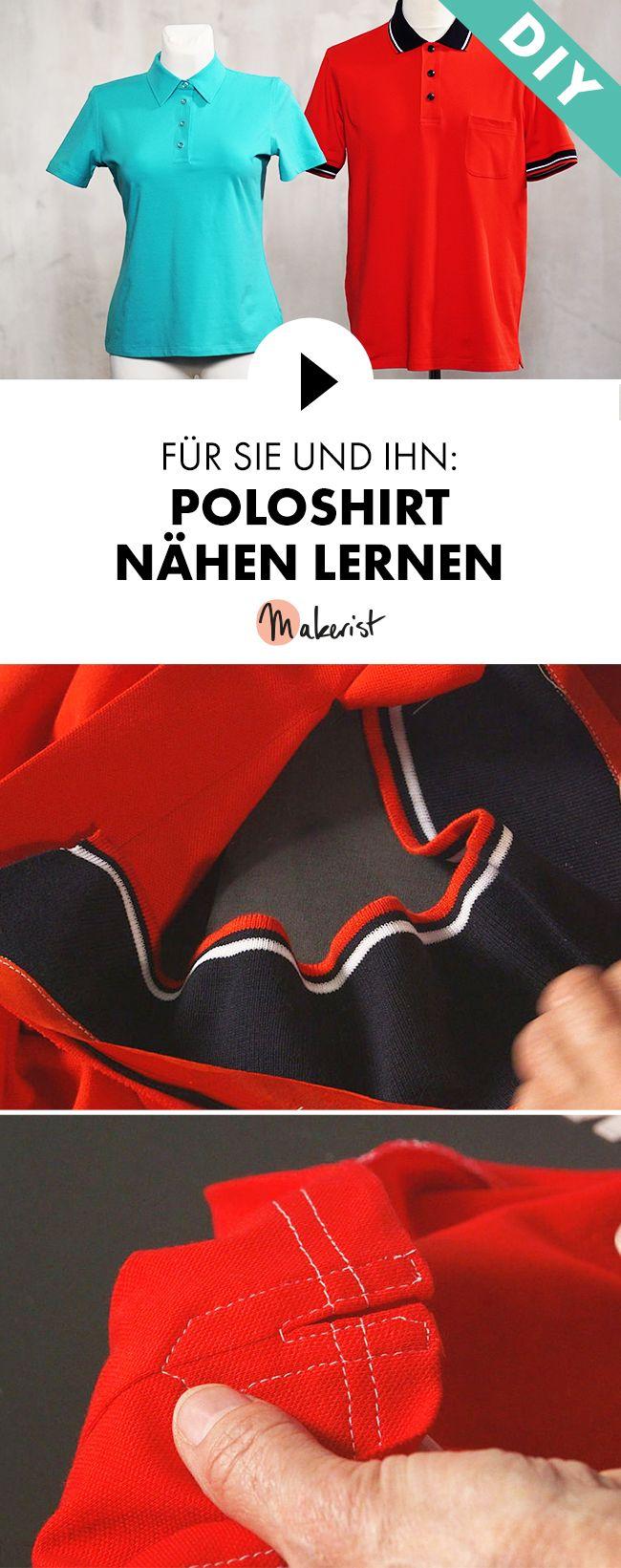 Polohemd als Klassiker für Frauen und Männer nähen lernen - Step by Step erklärt im Video-Kurs via Makerist.de