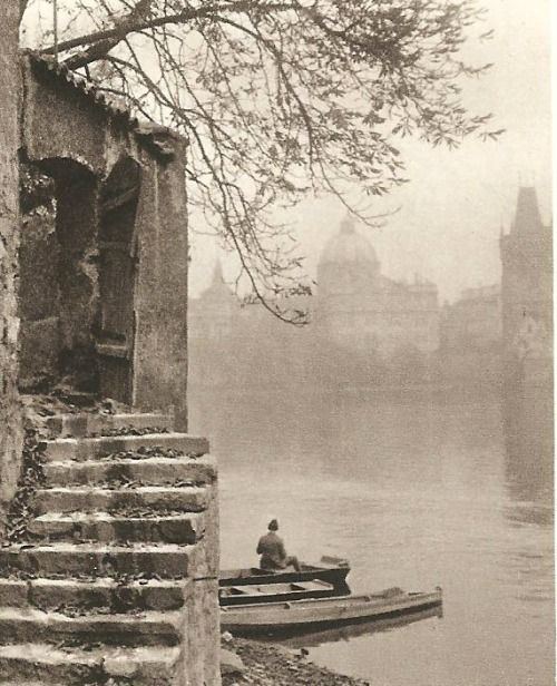 Prague in 30's: Vltava river, autumn time by J.Krupka