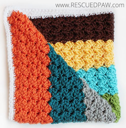Love the Colors!! Crochet Blanket using the Blanket Stitch From Rescued Paw