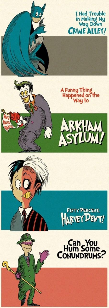 http://thenewsofworld.com/lagging-pupils-dont-catch-up/?mn=784512: Seuss Styles, Batman Drawn, Comic Book, Funnies, Batman Drsuess, Dr. Seuss, Dr. Suess, Superhero Art, Batman Seuss