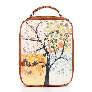 Fashion Women Girls Retro Colorful Printing School Bag Backpack