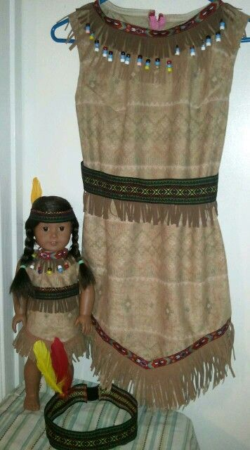 My granddaughter Cierra and her doll Avery's indian costumes I made for them for Halloween this year.