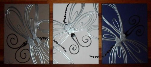 ORIGINAL-ABSTRACT-CANVAS-PAINTINGS-DRAGONFLY-BLUE-BROWN-SILVER-DEES-FUNKY-ART
